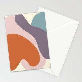 Matte pastel color blobs - abstract shapes - Matisse inspired, Purple, Petroleum,Terracotta , Pink,  Stationery Cards