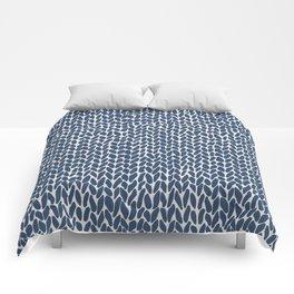 Hand Knit Navy Comforters