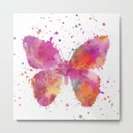 Artsy Butterfly colorful watercolor art Metal Print