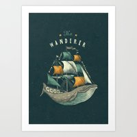 lettering Art Prints featuring Whale | Petrol Grey by Seaside Spirit