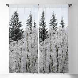 Winter Wanderlust Woods VIII - Snow Capped Forest Nature Photography Blackout Curtain