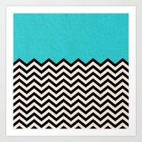 chevron Art Prints featuring Follow the Sky by Bianca Green