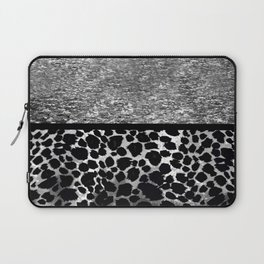 Animal Print Leopard Silver and Black Laptop Sleeve