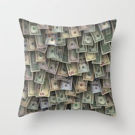 US dollars all over cover Throw Pillow