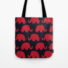 Elephants Red Tote Bag