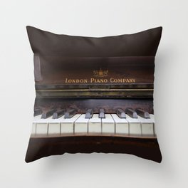 Piano keys Old antique vintage music instrument Throw Pillow