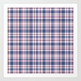 The checkered pattern . Scottish . Blue, red ,white . Art Print