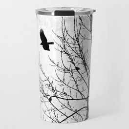 Crows Flying Birds in Tree Branches Black on White Travel Mug