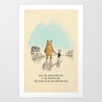 winnie the pooh Art Prints featuring Winnie the Pooh by Anna Della Marta