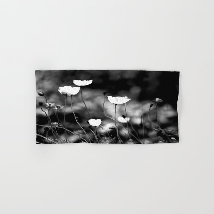 White Poppy Flowers in Black and White #decor #society6 Hand & Bath Towel