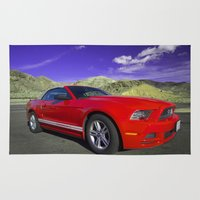 mustang Area & Throw Rugs featuring Mustang Coupe by Rob Hawkins Photography