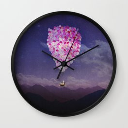 NEVER STOP EXPLORING IV PINK BALLOONS Wall Clock