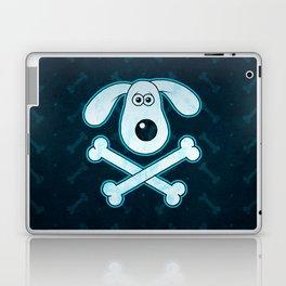 Dog Cartoon Blue Rain Bones Background Laptop & iPad Skin