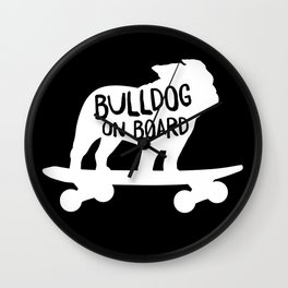 Bulldog on Board | Cool Skateboarding Dog Silhouette Wall Clock