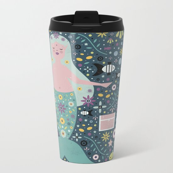 Mermaid in the Depths  Metal Travel Mug