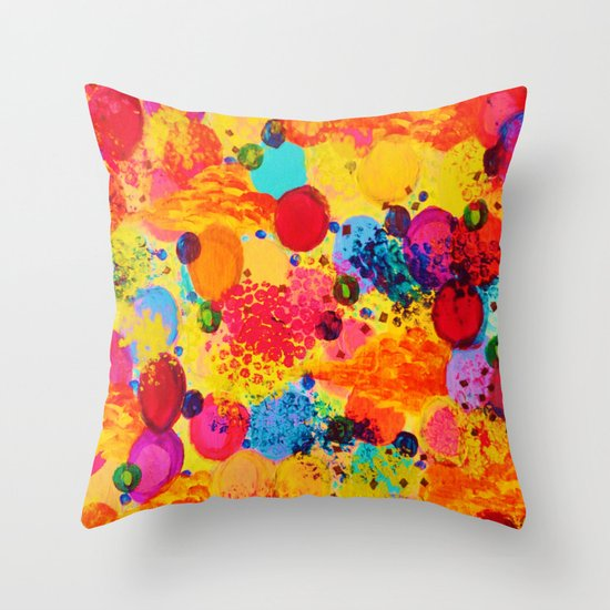 TIME FOR BUBBLY 2 - Fun Fiery Orange Red Whimsical Bubbles Bright Colorful Abstract Acrylic Painting Throw Pillow