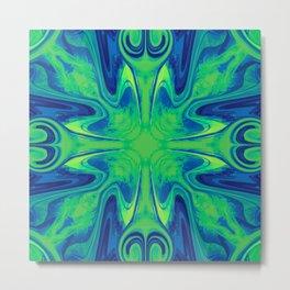 Groovy, Retro Blue and Green Swirls Design Metal Print