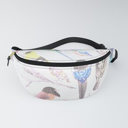 Birds of America- pets and wild birds in stained glass Fanny Pack