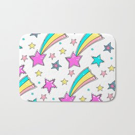Magical  stars and comets. Cute seamless background.  Colorful pattern. Bath Mat