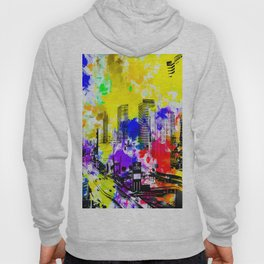 building of the hotel and casino at Las Vegas, USA with blue yellow red green purple painting abstra Hoody