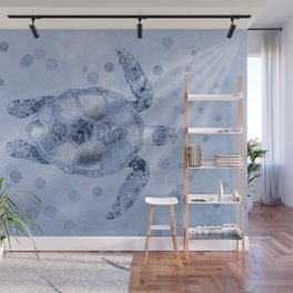Blue Glamour Sea Turtle Wall Mural