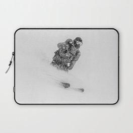 Ski Powder // Black and White Snowy Colorado Backcountry Skiing Whiteout Snowing Laptop Sleeve