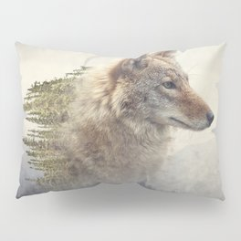 Double exposure of coyote portrait and pine forest on the mountain Pillow Sham