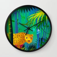 panther Wall Clocks featuring Panther by Nato Gomes
