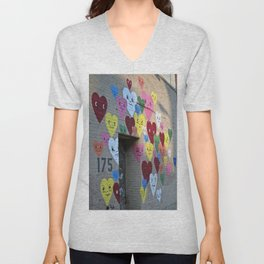 I Heart Brooklyn, Graffiti Art in Williamsburg, BK, New York Unisex V-Neck