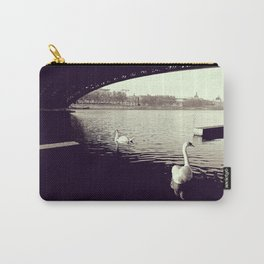 Swans, river and bridge - Black and white Fine Art Travel Photography Carry-All Pouch