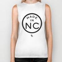 north carolina Biker Tanks featuring NC North Carolina (black) by DCMBR - December Creative Group