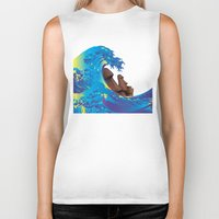 hokusai Biker Tanks featuring Hokusai Rainbow & Moai by FACTORIE