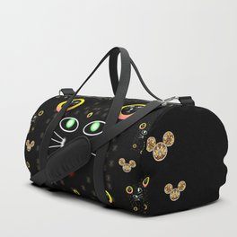 Merry black cat in the night and a mouse involved pop-art Duffle Bag