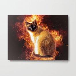 Flame Cat Metal Print