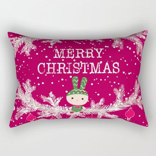 Christmas. Crimson background. Rectangular Pillow