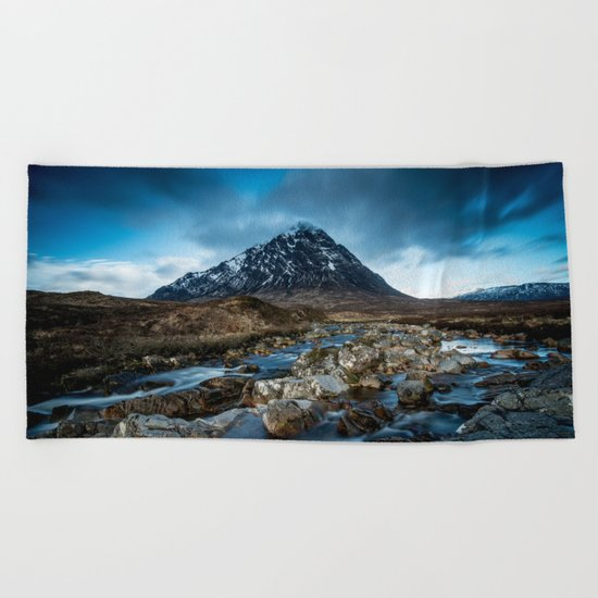 Mountain ice clouds blue Beach Towel