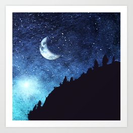 Mountain Silhouette with starry sky Art Print