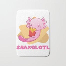 Snaxolotl I Funny Kawaii Axolotl Snack Aquarium Fan Gift print Bath Mat