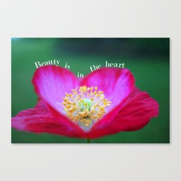 Heart Shape Red Poppy Flower with Quotes Canvas Print