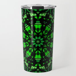 Green and Black Kaleidoscope Travel Mug