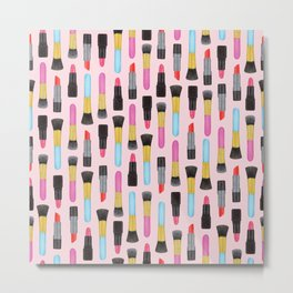 Make-up and Lipstick Watercolor pattern | Girly Pattern | Beauty pattern | Pink art | Lovely art Metal Print