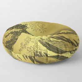 Golden Japanese Great Wave off Kanagawa by Hokusai Floor Pillow