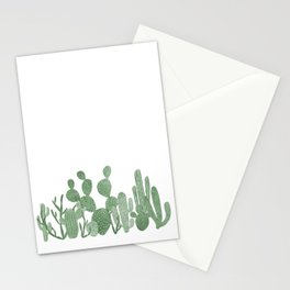 Green cactus garden on white Stationery Cards