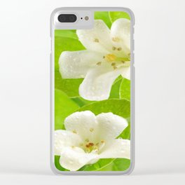 Small White Flowers on Vine Clear iPhone Case