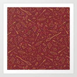 Yer a Wizard - Red + Gold Art Print