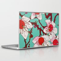 cherry blossoms Laptop & iPad Skins featuring Cherry Blossoms by minniemorrisart