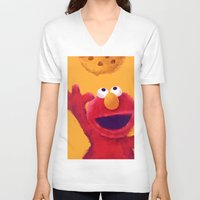 elmo V-neck T-shirts featuring Cookies 2 by Lime