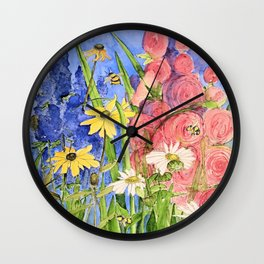 Cottage Garden Delphinium and Hollyhocks Watercolor Wall Clock