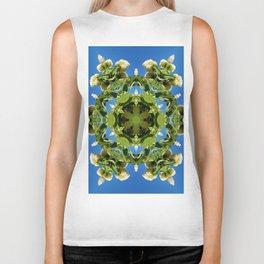 Hydrangea kaleidoscope - white flowers, green leaves, blue sky 161134 k6 Biker Tank