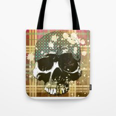 tartan skull Tote Bag
